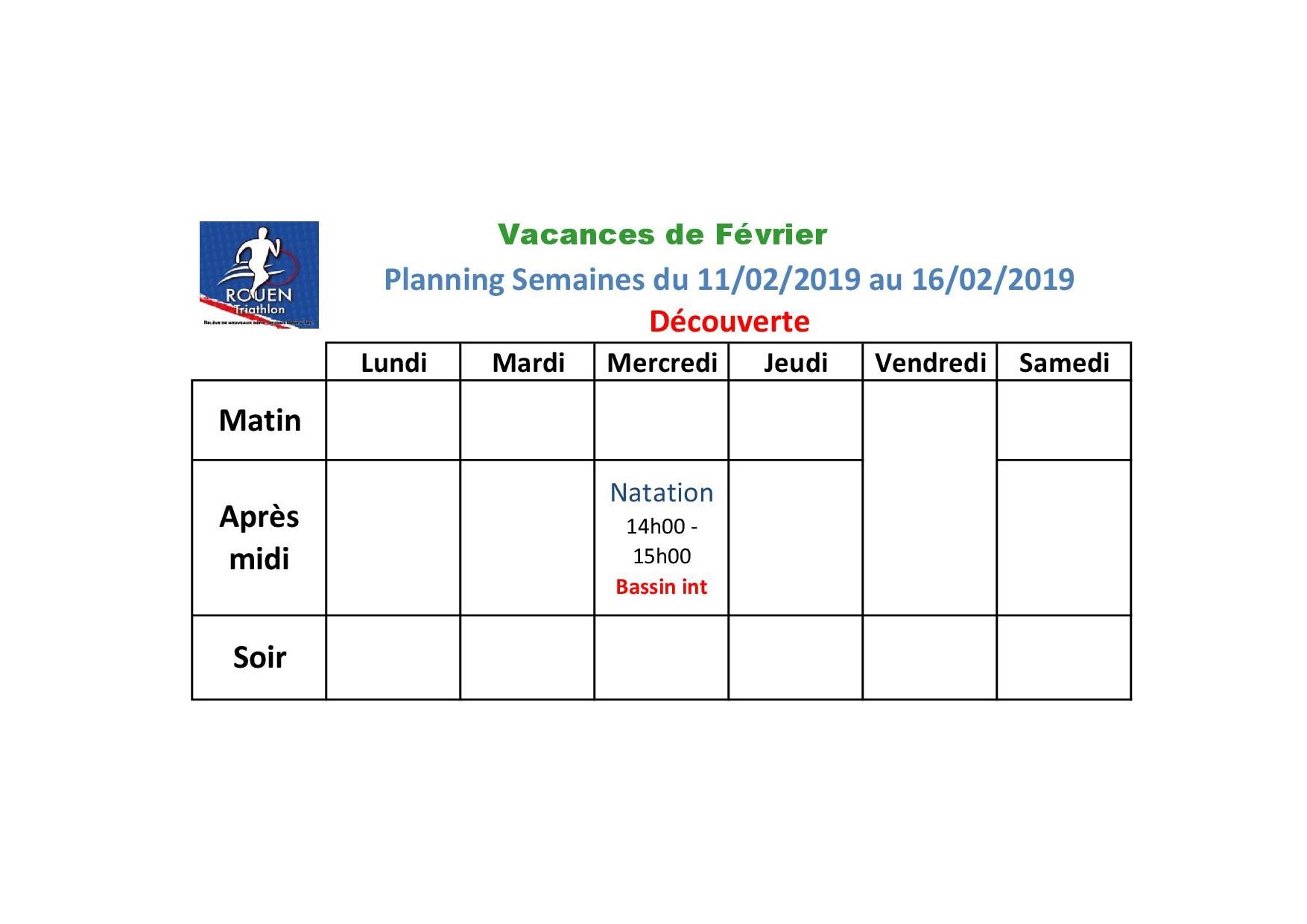 Planning vacances Février Découverte